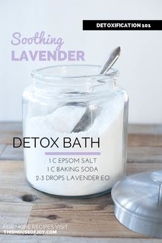 Nothing is more relaxing than a warm bath except perhaps a relaxing warm detox bath that also helps cleanse the body. Seriously- these detox bath recipes w ** Click image for more details. Lavender Detox Bath, Lavender Bath Salts, Epsom Salt Bath Detox, Baking Soda Detox Bath, Detox Bath Soak, Baking Soda Scrub, Detox Bad, Diet Detox, Handmade Soaps