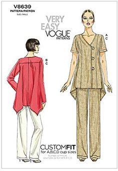 Vogue Sewing Pattern 8639 Misses Size Easy Assymetrical Button Front Top Pants Vogue Patterns, Clothing Patterns, Dress Patterns, Tunic Sewing Patterns, Sewing Clothes, Diy Clothes, Vintage Patterns, Vintage Sewing, Patron Vintage