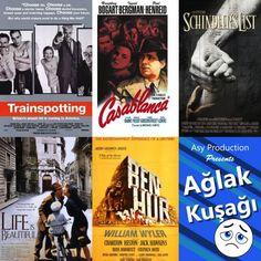 Kış geldi galiba kabul edelim artık... E ne yapalım dedik, hafta sonu sineması seanslarını başlatarak kışın gelişini sinema keyfi ile unutalım. Hala izlemediğiniz yada bir kez daha izlemeye değer tavsiyeler benden. İlk haftayı ağlak filmlere yani dram önermeleri ile açıyoruz. 1. Schindler's list (Schinler'in listesi) 2.La Vita e Bella (Hayat güzeldir) 3.Casablanca 4.Trainspotting 5. Ben-Hur