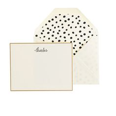thank you cards with black & white polka dot liner