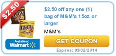Money Saving Coupons for your vacation fund. $2.50 off any one (1) bag of M&M's 15oz. or larger