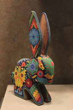 Huichol beaded rabbit - National Museum of Anthropology, Mexico