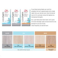 Toner to neutralise unwanted warm/brassy tones! Wella Colour Charm is an extra mild formulation that creates gorgeous cool, beige blonde tones. Toner For Blonde Hair, Blonde Hair At Home, Beach Blonde Hair, White Blonde Hair, Hair Toner, Beige Blonde, Blonde Color, Hair Colour, Natural Ash Blonde