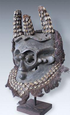 A Great horned Helmet-Mask with chameleon-eyes, Kuba-Ngeende Peoples, Congo