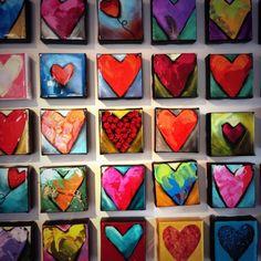 wand vol hartjes - Latoya Higgins Page Group Art Projects, Auction Projects, School Art Projects, Small Canvas Paintings, Mini Canvas Art, Heart Painting, Collaborative Art, Heart Art, Art Plastique