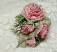 Ribbonwork brooch, pink roses/this is more beautiful than there are words for!