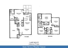 Naval Complex San Diego – Santo Terrace (Murphy Canyon) Neighborhood: 4 bedroom 2.5 bathroom duplex home floor plan (1692 SQ FT).