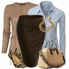 A brown pencil skirt. Not too form fitting though.