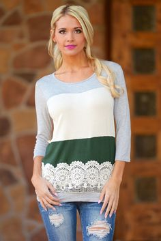 Lacey Little Thing Color Block Top - Hunter Green