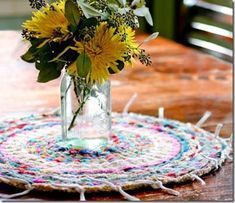 Woven Finger-Knitting Hula-Hoop Rug DIY - Flax & Twine Woven Finger-Knitting Hula-Hoop Rug DIY - Flax & Twine Always aspired to discover ways to knit, although uncertain the p. Diy Finger Knitting, Finger Knitting Projects, Loom Knitting, Knitting Patterns, Finger Crochet, Knitting Club, Loom Patterns, Knitting Stitches, Twine Crafts