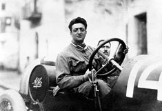 A young Enzo Ferrari at the wheel.