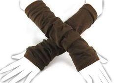 Knit Arm Warmer Gloves, Brown, Gift Idea