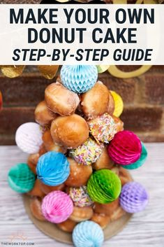 It's so much fun to make a Donut Tree! Learn how to make this donut cake tower with my step by step guide. You can make donut hole cakes for all occasions. Get the recipe and steps at www.theworktop.com. || #donuttree #donutcake #theworktop