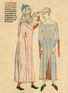 Medieval doctor cutting open a patient's skull with a hammer and blade. Illustration from a 14th century French medical manuscript by Guy of Pavia.