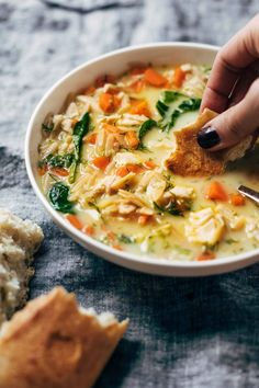 Filling, fresh, and vibrant lemony chicken soup made creamy with NO CREAM and a secret ingredient! This soup is the BEST! Seared Salmon Recipes, Whole Wheat Pasta, Cooking Recipes, Healthy Recipes, Milk Recipes, Healthy Soup, Cooking Tips, Comfort Food, Soup And Salad