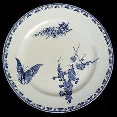 Assiette-dessert-CARMEN-Sarreguemines-U-C-Terre-de-Fer-camaieu-bleu-papillon-19e