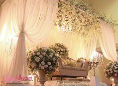 Wedding pelamin from Malaysian designer Rins Suzana ~ Butik Pengantin Rins Suzana, Kuala Lumpur.... Wedding Stage Backdrop, Wedding Backdrop Design, Wedding Decorations, Malay Wedding, Our Wedding, Dream Wedding, Green Weddings, White Weddings, Wedding Arrangements