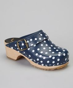Take a look at this Navy Polka Dot Clog - Kids by Cape Clogs on #zulily today!
