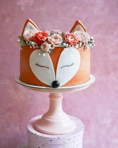 Cake Designs For Girl, Cake Designs Images, Baby Cake Design, Simple Cake Designs, Girl 2nd Birthday, Birthday Cake Girls, Fox Cake, Wilton Cake Decorating, Animal Cakes