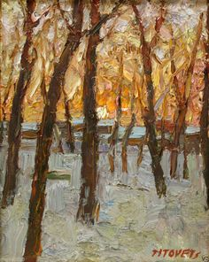 Signed Aleksander Titovets 1997 Oil Canvas Winter Sunset Sunrise Painting 8x10in #Impressionism