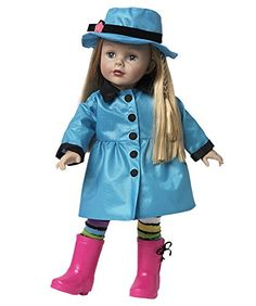 """Madame Alexander Rainy Dayz 18"""" Doll. 18-inch play doll is the perfect size for a child's hands. Dressed in a dark lavender knit dress, turquoise raincoat, turquoise rain hat, and hot pink rain boots. Hair can be styled for hours of playtime fun. Recommended for ages 3 and up. Quality craftsmanship that demonstrates """"love is in the details.""""."""