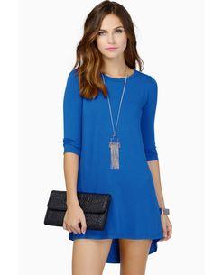 Blue Long Sleeve Casual High Low Dress