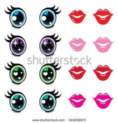 Kawaii cute eyes and lips icons set, Kawaii character by RedKoala