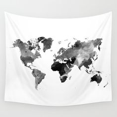Wall Tapestry, Wall Hanging, World Map Tapestry, Design 42 World map black white gray grayscale Home Decor art L. World Map Tapestry, Tapestry Bedroom, Tapestry Wall Hanging, Tapestry Design, Mandala Tapestry, Hanging Art, Buy World Map, World Map Wall, Interior Design