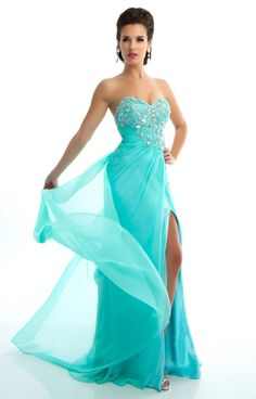 Mac Duggal Prom 2013 - Strapless Mint Chiffon Gown With Sequin & Rhinestone Embellishments - Unique Vintage - Cocktail, Pinup, Holiday & Prom Dresses. Strapless Dress Formal, Formal Dresses, Dresses 2013, Fancy Dress, Mac Duggal, Top 5, Chiffon Gown, Beautiful Gowns, Beautiful Things