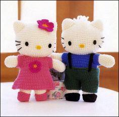 Free, step-by-step pattern for making a Hello Kitty crochet doll | Crochet Toy, Free Pattern, Graphic, Diagram, Yarn Crochet, Crochet Inspirations, Crochet Amigurin, Amigurumi.