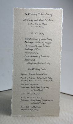 Seed Paper Wedding Programs custom printed in black ink with rustic handmade paper cover Tea Length