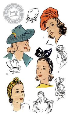 """Wearing History 1940s Hat Wardrobe Pattern- Size 22"""", 1940s hats and turbans you can make yourself"""