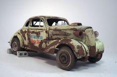 1937 Chevy Gasser Drag Car Pro Built Weathered Barn Find Junkyard Custom 1 25