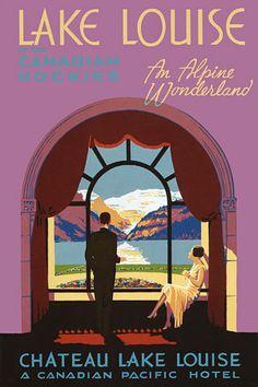 Lake Louise Canada Art Deco Vintage Travel Posters Prints