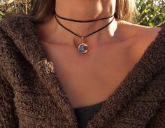 Cuero gargantilla collar - joyas de bismuto - por encargo - luna - colgante cobre - Luna - abrigo collar - joyas de cristal