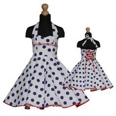 Girls dress for petticoat custom made maritim style ancer embellishment polka  dots navy blue white a1b664314d