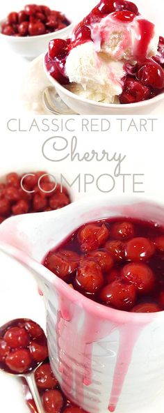 Classic Red Tart Cherry Compote is a delicious homemade cherry sauce made from tart cherries Use on pancakes french toast ice cream cake yogurt ham pork Or by the spoonfu. Cherry Recipes, Fruit Recipes, Dessert Recipes, Cooking Recipes, Recipies, Pancake Recipes, Dessert Sauces, Cherry Compote, Gastronomia