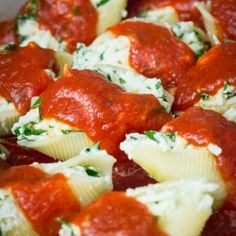 Simple Stuffed Shells with ricotta, fresh herbs and marinara.