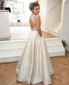 Formal A-Line Prom Dress, Long Beaded-Bodice Prom Dress, Champagne Satin Prom Dress With Pockets