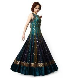 Turquoise Blue & Green velvet anarkali by Akshay Wadhwa, leave a star impression with the outfit. Order here: http://www.indianroots.com/boutiques/a-d/vaasvi-by-akshay-wadhwa/turquoise-green-and-blue-velvet-anarkali-2516