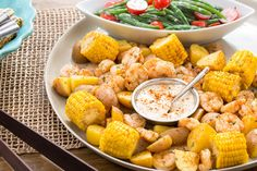 """Southern-Style Shrimp """"Boil"""" with Corn, Potatoes & Green Bean Salad from BlueApron. @blueapron AD"""