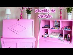 TUTORIAL MUEBLE DE CARTÓN VINTAGE TIPO SECRETER - Mery - YouTube