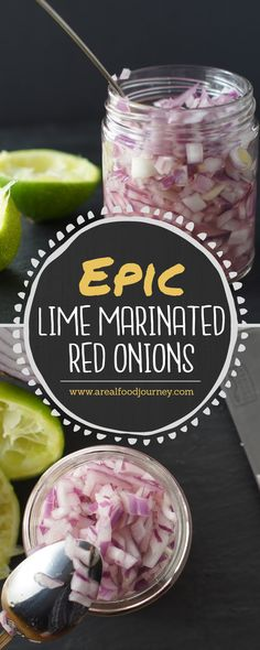 delicious and simple lime marinated red onions. Take a bit of the spice out of raw red onions with a simple 2 ingredient marinade! Raw Food Recipes, Mexican Food Recipes, Cooking Recipes, Healthy Recipes, Red Onion Recipes, Fun Recipes, Cooking Ideas, Vegetable Recipes, Healthy Food