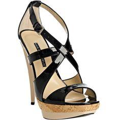 Rock & Republic black patent leather 'Andi' platform sandals ($206) ❤ liked on Polyvore featuring shoes, sandals, cipele, heels, pumps, sapatos, women, platform sandals, black patent leather shoes and criss-cross sandals
