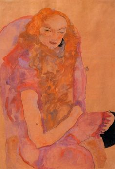 Woman with Long Hair by @engonschiele #expressionism