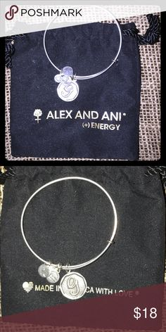 Alex and ANI (+) Energy Silver G Bracelet Alex and ANI silver initial 'G' bracelet. Great condition- worn a few times. Comes with Bag shown in pictures Alex And Ani Jewelry Bracelets