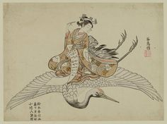 Suzuki Harunobu, Woman riding a flying crane, 1765