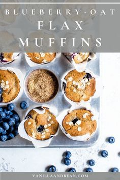 Blueberry-Oat Flax Muffins are simple to pull together and are freezer friendly too! #muffins #blueberrymuffins #oatflaxmuffins #vegan   vanillaandbean.com @vanillaandbean
