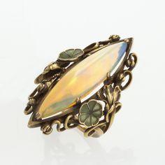 French Art Nouveau Opal Plique-à-Jour Enamel and Gold Ring- Macklowe Gallery