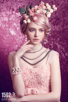 Garden of Eleganceಌ : Photo Floral Fashion, Pink Fashion, Lace Flowers, Flowers In Hair, Beautiful Flowers, Red And Pink, Pretty In Pink, Peinados Pin Up, Fru Fru